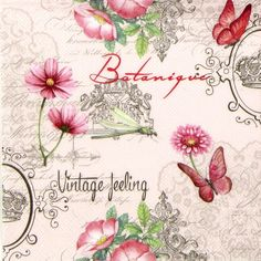 4x Single Luxury Paper Napkins for Decoupage and Craft Vintage Feeling