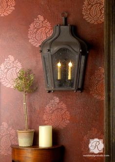 Painted and Stenciled Walls - Indian Design Paisley Wall Art Stencil by Royal Design Studio Stencils