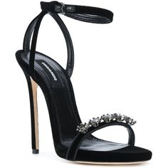 Dsquared2 embellished velvet sandals (€1.120) ❤ liked on Polyvore featuring shoes, sandals, black shoes, glitter sandals, black velvet shoes, open toe stilettos and velvet shoes