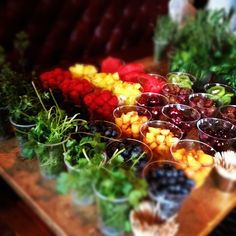 Your guests will have fun customizing their cocktails with a colorful array of fruits and herbs to muddle into cocktails and use as garnishes. #aromabotanical