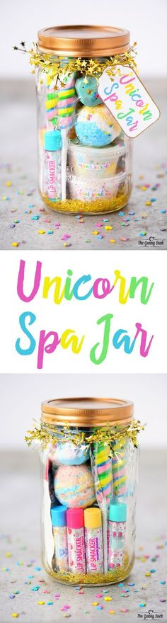 This Unicorn Spa Jar is for the girly girls is your life who love all things sparkly and colorful. They can use the fun gift in a jar to have a spa day. These mason jars would be perfect for a girls birthday party or give as a Christmas gift. #birthdaygifts