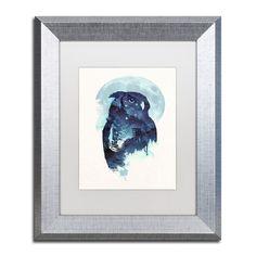 "Trademark Art ""Midnight Owl"" by Robert Farkas Framed Graphic Art Size: 14"" H x 11"" W x 0.5"" D, Matte color: White"