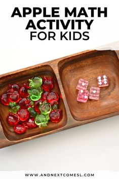Looking for apple math activities for toddlers, preschool, or kindergarten? Then try this simple apple math tray! #preschool #appleactivities #mathactivities #math #kindergarten