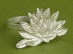 Waterlily Ring handmade by Garden of Silver in sterling silver.