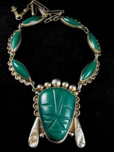 Carved Onyx Necklace Mexican Sterling Aztec Face Pre by hipcricket, $75.00