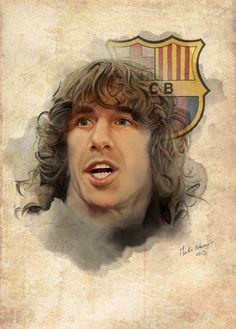 Retrato de Puyol, genial dibujo!! Barça!!Portrait Carles Puyol FC Barcelona by Martin Echeverria, via Behance