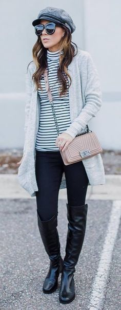 how to style a grey cardigan : stripped top + hat + bag + black skinnies + over knee boots