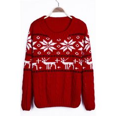 Red Snowflake with Deer Christmas Pattern Cable Sweater ($30) ❤ liked on Polyvore