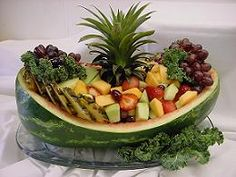 boats lancaster county stuffed green pepper boats endive boats with Watermelon Boat, Watermelon Basket, Watermelon Carving, Fruit And Vegetable Carving, Veggie Tray, Veggie Food, Fruit Buffet, Fruit Platters, Deco Fruit