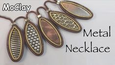 DIY Necklace with metal effects - Polymer clay tutorial Polymer Clay Tools, Fimo Clay, Polymer Clay Projects, Clay Crafts, Diy Earrings Easy, Diy Necklace, Black Necklace, Necklaces, Polymer Clay Necklace