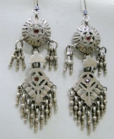 Antique ethnic tribal old silver earrings