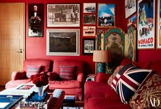 A red Farrow & Ball paint warms the library walls, which are lined with vintage race memorabilia from James's father; sofa by RH. Nicky Hilton, Farrow Ball, Farrow And Ball Paint, New York Penthouse, Manhattan Penthouse, Pottery Barn Kids, Howard Sofa, Oak Bookshelves, Library Wall