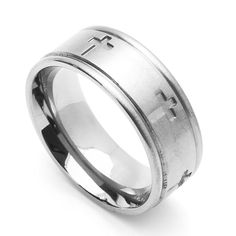 8MM Comfort Fit Stainless Steel Wedding Band Cross Ring (Size 6 to 14) >>> Find out more details by clicking the image : Wedding Rings Jewelry