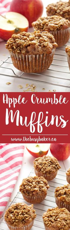 Apple Crumble Muffins are delicious dessert-inspired muffins made with fresh apples and a delicious crumble topping! Muffin Recipes, Apple Recipes, Fall Recipes, Baking Recipes, Apple Snacks, Dishes Recipes, Summer Recipes, Apple Crumble Muffins, Muffins Blueberry