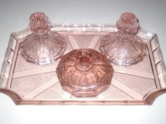 Pink Glass Dressing Table Set. I Had One Lie This From My An With 2