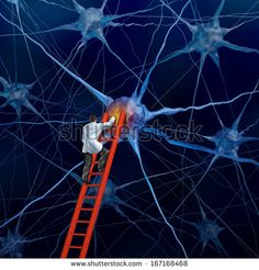 Brain doctor on a red ladder examining the neurons of a human head to heal memory loss or cells due to dementia and other neurological diseases as a mental health metaphor for medical research hope.