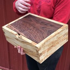 Really special custom heirloom box in curly ambrosia maple and walnut, with dovetails.