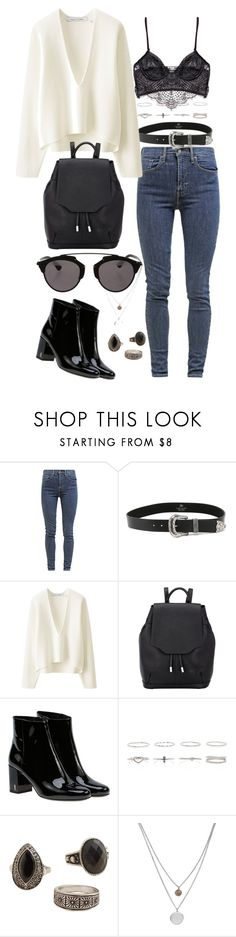 """""""Untitled #85"""" by amanda-thoresson ❤ liked on Polyvore featuring Levi's, B-Low the Belt, Uniqlo, rag & bone, Yves Saint Laurent, Prada, MANGO, Kenneth Cole and Christian Dior"""