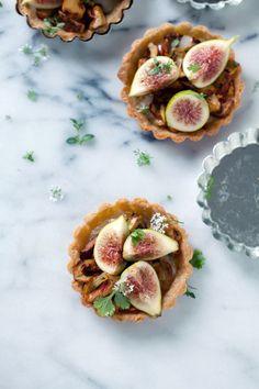 Gluten-free mushroom, taleggio and fig tarts