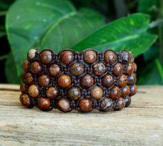 Earthy Brown Cuff Bracelet  Pietersite Bracelet  by PJsPrettys