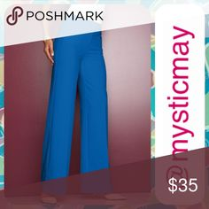 NWT Blue Wide Leg Besom Pocket Pants Size 1X / 20W Wide leg career pants in a vibrant sapphire blue with flattering contour waist and besom pockets in the front. Wrinkle resistant with a touch of stretch. Zipper with hook/ bar closure. Polyester blend. Size 1X or 20W. Gorgeous trousers! Metrostyle Pants Wide Leg