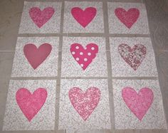 Set of 9 Machine Appliqued Shabby Pink Heart  Baby Quilt  Blocks