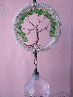 Tree of life crystal prism suncatcher, Large 40mm crystal ball, Feng shui cures, window ornament, garden art