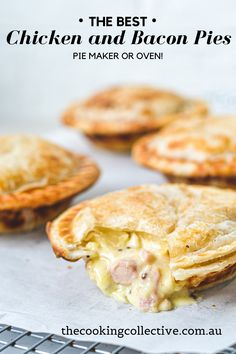 Irresistible pies topped with golden puff pastry, filled with tender chicken, bacon & mustard.This creamy chicken pie with puff pastry is pure comfort food! Mini Pie Recipes, Oven Recipes, Chicken Recipes, Cooking Recipes, Chicken Bacon, Recipies, Chicken Pie Recipe Easy, Easy Pastry Recipes, Pastries Recipes