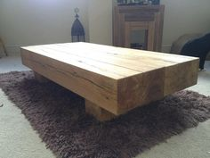 Rustic Solid Oak Beam Coffee Table by rusticOAKley on Etsy, £389.99