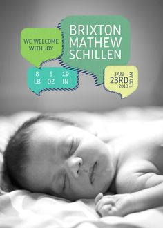 Spread the news about your family's new arrival with this custom baby announcement.