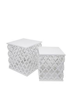 Three Hands Set of 2 Wood Tables, White