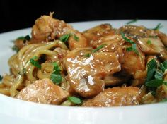Chicken with Mushrooms in White Wine.... Really good - I 2xed the sauce for the pasta