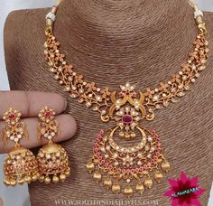 "984 Likes, 22 Comments - South India Jewels (@southindia_jewels) on Instagram: ""Imitation necklace and jhumka from @alamakara . For inquiries please contact the seller below.…"""