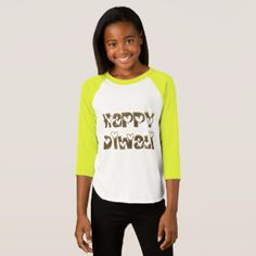 Happy Diwali Greeting Cute Hearts Typography T-Shirt