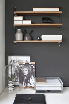 String shelf, Home office, black, workspace, Scandinavian