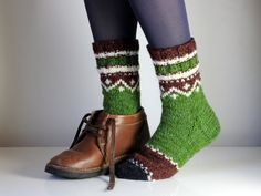 Hand knit wool socks, size - woman US 7-7.5 , EU 37.5 - 38