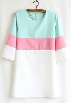 $29.99 USD Sweet Color Block Short Sleeve Crew Neck Shift