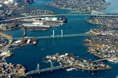 3 Piscataqua River Bridges spanning the Piscataqua River between Portsmouth, NH (left) & Kittery, ME (right). New England States, New England Travel, New England Homes, Portsmouth New Hampshire, Portsmouth Va, York Beach, Construction, British Isles, East Coast