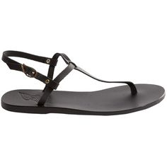 Pre-owned Ancient Greek Sandals Leather Sandals (£76) ❤ liked on Polyvore featuring shoes, sandals, black, leather sandals, leather footwear, black shoes, black sandals and leather shoes