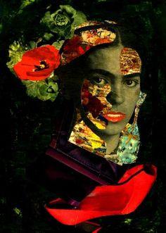 "Saatchi Art Artist CARMEN LUNA; Collage, ""77-Tesoros del COLLAGE. Frida Khalo."" #art"