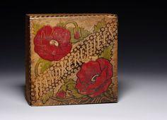 VINTAGE Poppy Handkerchief Box  Pyrography by GamineVintage, $40.00