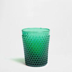 TURQUOISE PANEL GLASS TUMBLER - Glassware - Glassware - Tableware | Zara Home United States