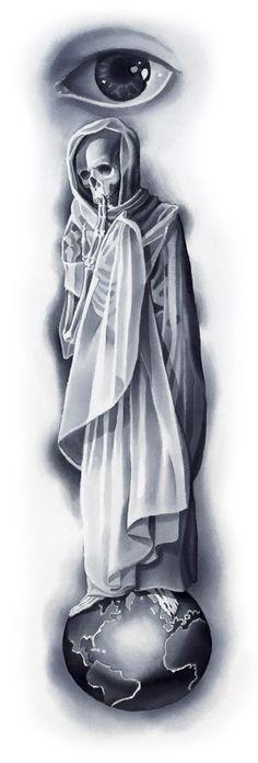 Skeleton on the World ©2012 Kore Flatmo, PluraBella, skeleton, fabric, eye, silk paint on paper