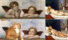 Pet cat added it to works by Botticelli, Dali and even the Mona Lisa