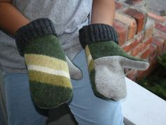 Recycled Mittens from Wool Sweaters go to the link and watch a detailed video on how to make your own mittens