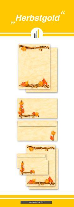 Briefpapier / Motivpapier HERBSTGOLD mit passenden Briefumschlägen. Papier und Umschläge passend zum Thema Herbst.