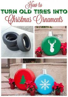 How To Make Giant Christmas Ornaments From Old Tires – The Best DIY Outdoor Christmas Decor Homemade Christmas Decorations, Christmas Hacks, Christmas Porch, Noel Christmas, Simple Christmas, Christmas Ornaments, Christmas Images, Beautiful Christmas, Christmas Stuff