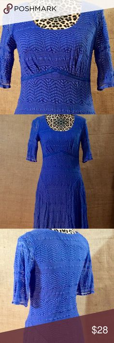 Women's Stretchy Lace Dress Beautiful royal blue.  Stretchy lace fit and flare dress. Elbow sleeve and fully lined.  Made of nylon, spandex and polyester. Rabbit Rabbit Rabbit Dresses Midi