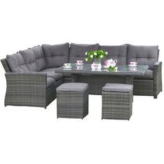 Wicker Rattan Outdoor Dining Set ❤ liked on Polyvore featuring home, outdoors, patio furniture, outdoor patio sets, rattan patio furniture, rattan table and chairs, 5 piece outdoor patio set, 5pc dining set and outdoor wicker furniture