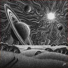 Space Drawings, Dark Art Drawings, Art Drawings Sketches, Black And White Art Drawing, Black Paper Drawing, Art Blanc, Trippy Painting, Scratch Art, Psy Art